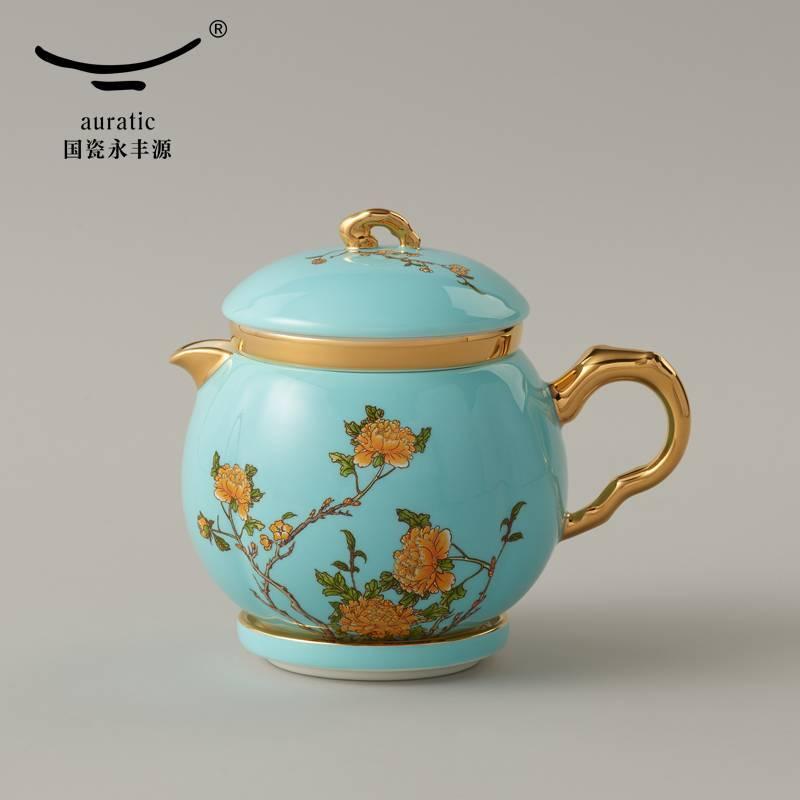 西湖蓝7头旅行茶具