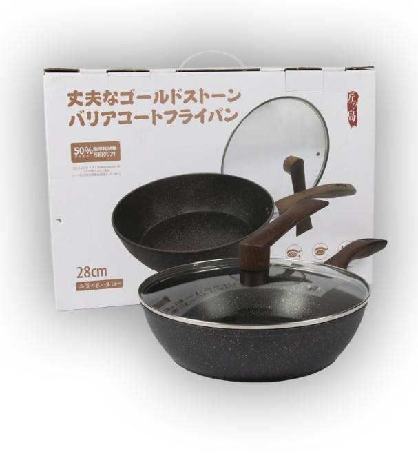 匠の岛 日本进口匠之岛金砂麦饭石锅 深煎锅 不粘锅 少油烟 28cm